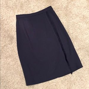 Vintage Ruffled Navy skirt with slit in the back
